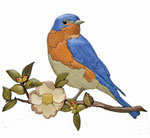 Bluebird and Apple Blossom Intarsia Pattern