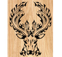 Blazing Buck Scrolled Art Pattern