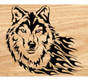 Blazing Wolf Scrolled Art Pattern