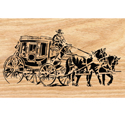 Old West Stagecoach Scrolled Wall Art Pattern