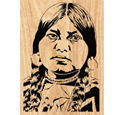 Cayuse Indian Woman Scrolled Portrait Art Pattern