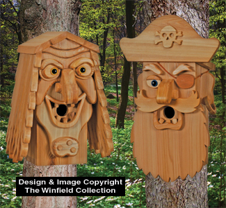 Cedar Sea Hag & Pirate Birdhouse Plans