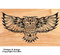 Blazing Owl Scrolled Art Pattern