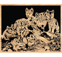 Wolf Family Scrolled Art Pattern