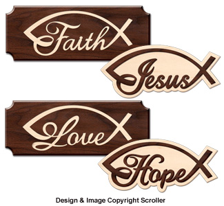 Faith, Jesus, Love and Hope Wall Art Design Patterns
