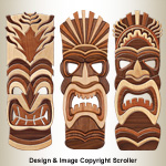 Tiki Intarsia Wall Art Patterns