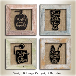 Raised Bathroom Silhouette Wall Art Pattern