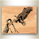 Eagle Landing Scrolled Art Design Pattern