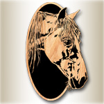 Horse Oval #1 Scrolled Art Pattern