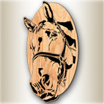 Horse Oval #2 Scrolled Art Pattern