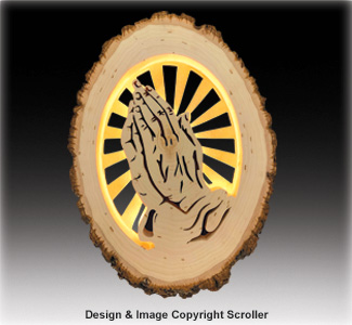 Lighted Religious Round - Praying Hands
