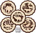 Layered Wildlife Coaster Pattern Set #1