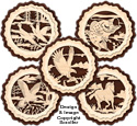 Layered Wildlife Coaster Pattern Set #2