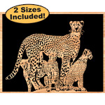 Cheetah & Kits Scrolled Art Pattern