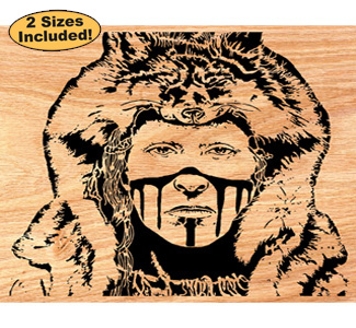 Crow Wolf Clan Scrolled Art Pattern