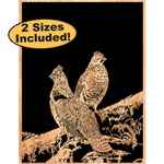 Ruffed Grouse Pair Scrolled Art Pattern