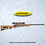 Elk Scope Rifle Wall Art Design Pattern