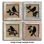 Raised Bird Silhouette Pattern Wall Art