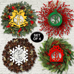 Christmas Wreath Monogram Insert Pattern Set