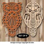 Owl Trivet and Ornament Scroll Saw Pattern Set - Downloadable