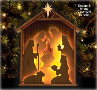 Lighted Nativity Silhouette Design Pattern - Downloadable