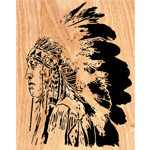 Chief Scrolled Portrait Art Pattern