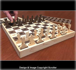 Scrolled Heirloom Chess Set Pattern