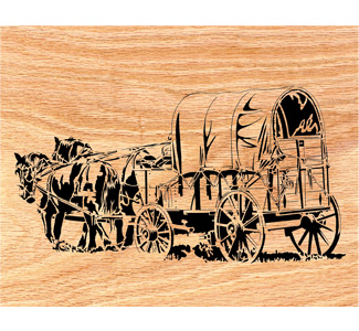 Western Horse Wagon Scrolled Art Design Pattern