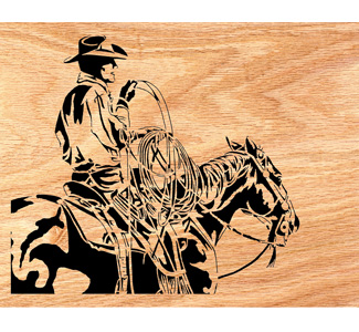 Cowboy on Horseback Scrolled Portrait Art Pattern