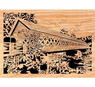 Covered Bridge #1 Scrolled Art Design Pattern