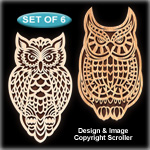 Tribal Owl Wall Art Pattern Set