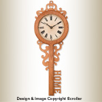 Ornate Key Wall Clock Design Pattern