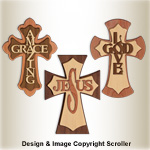 Set of 3 Layered Wall Crosses Pattern