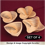 Set of 4 Stylish Stacked Bowl Designs #1 Pattern - Downloadable