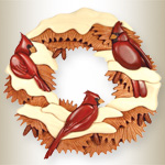 Cardinal Wreath Intarsia Pattern